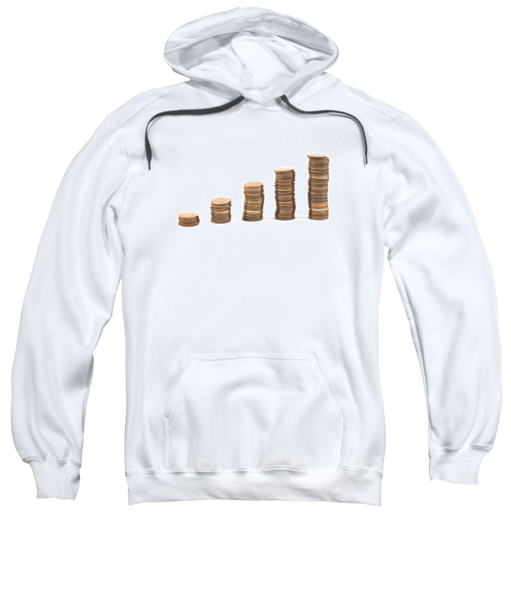 Penny Sweatshirt featuring the photograph Bar Graph Made With Pennies by Keith Webber Jr