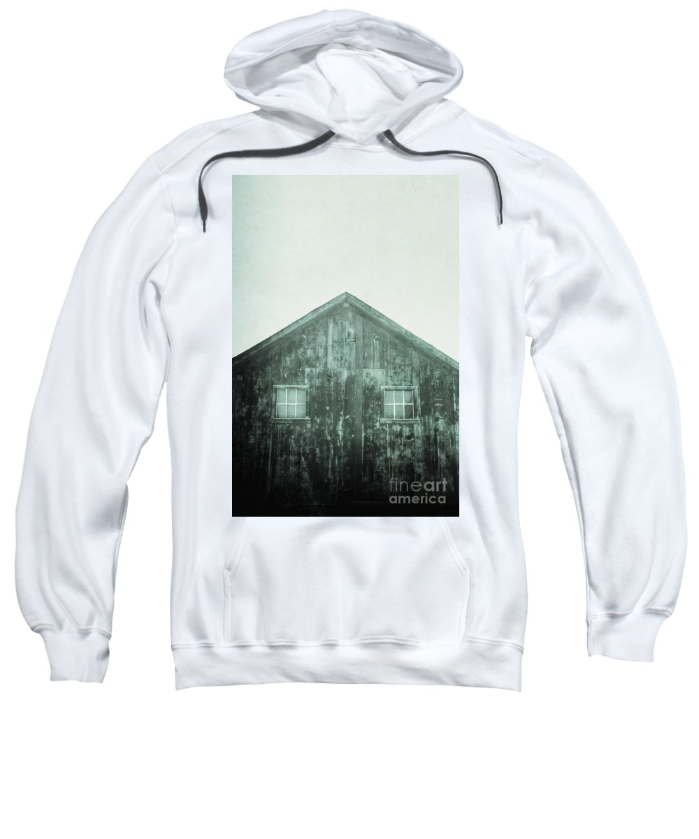 Barn; Shed; Wood; Wooden; Country; Rural; Desert; Deserted; Worn; Abandoned; Ruins; Blue; Green; Haze; Creepy; Darkness; Windows; Closed; Facade Sweatshirt featuring the photograph Barn by Margie Hurwich