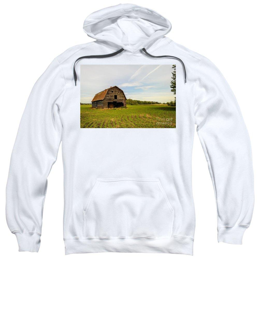 Barn Sweatshirt featuring the photograph Barn On The Field by Viktor Birkus