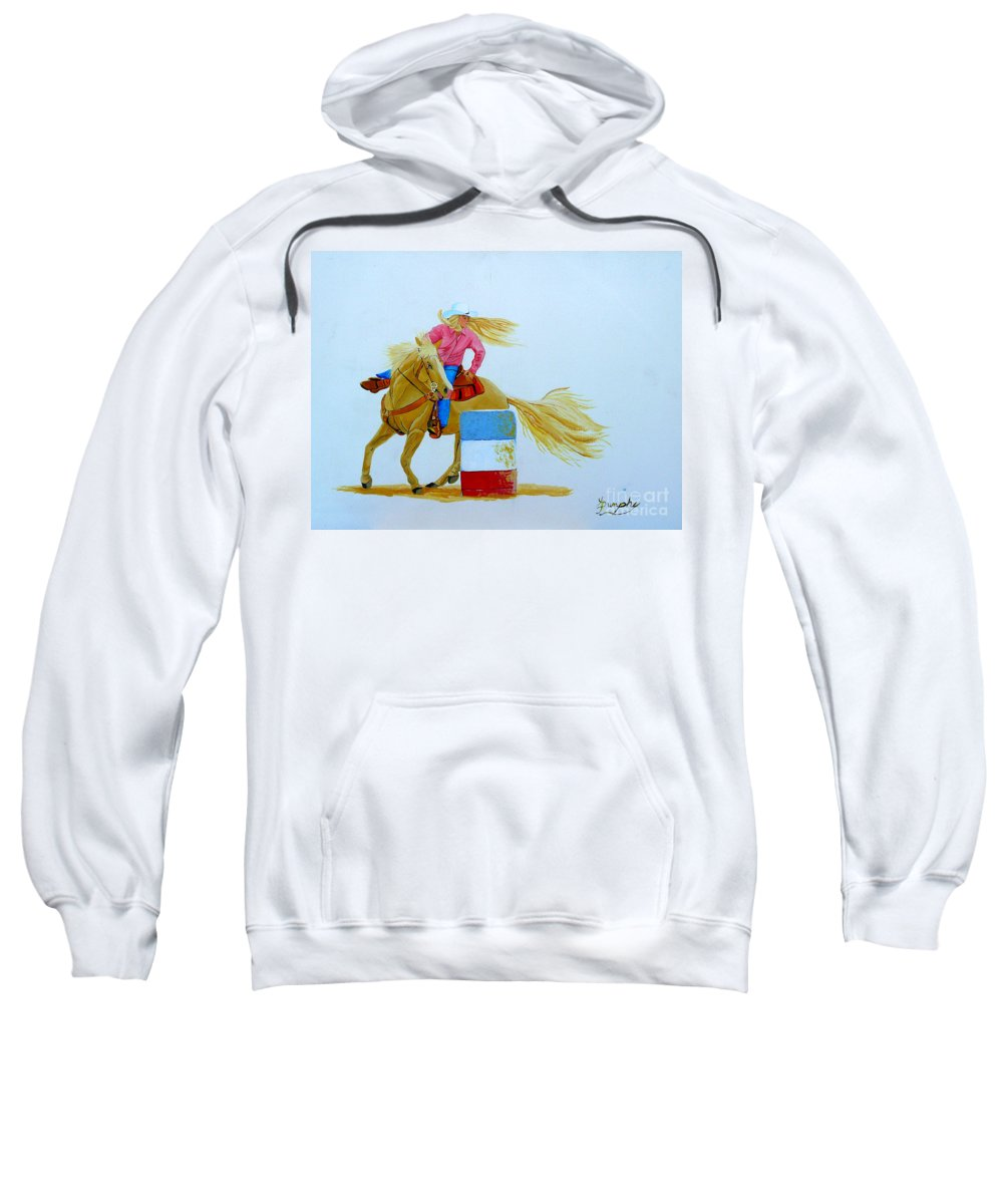 Rodeo Sweatshirt featuring the painting Barrel Racer by Anthony Dunphy
