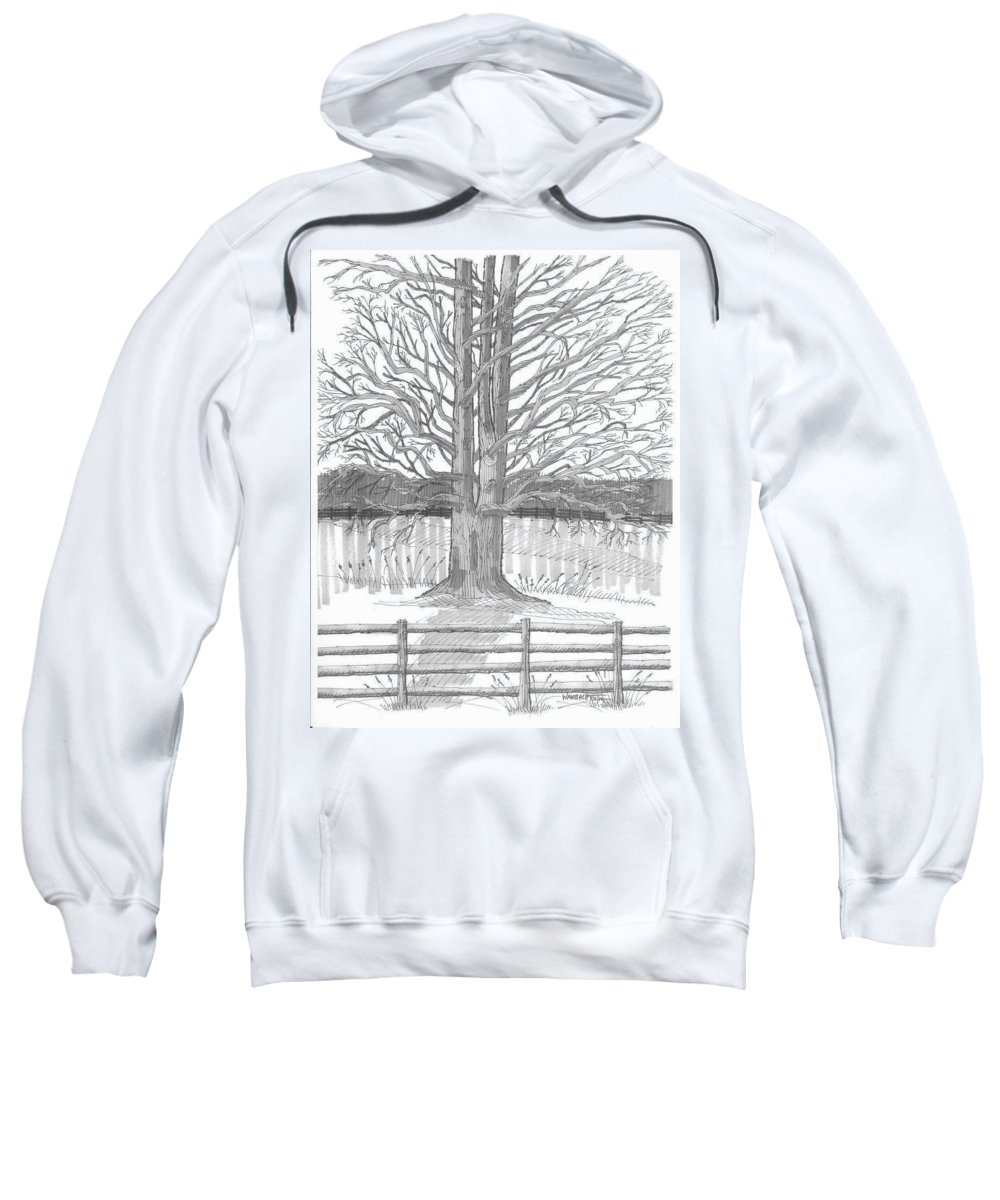 Landscape Sweatshirt featuring the drawing Barrytown Tree by Richard Wambach