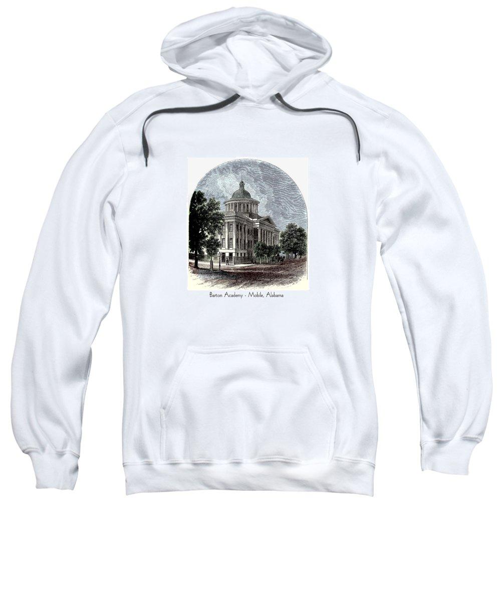 Mobile Sweatshirt featuring the digital art Barton Academy - Mobile Alabama by John Madison