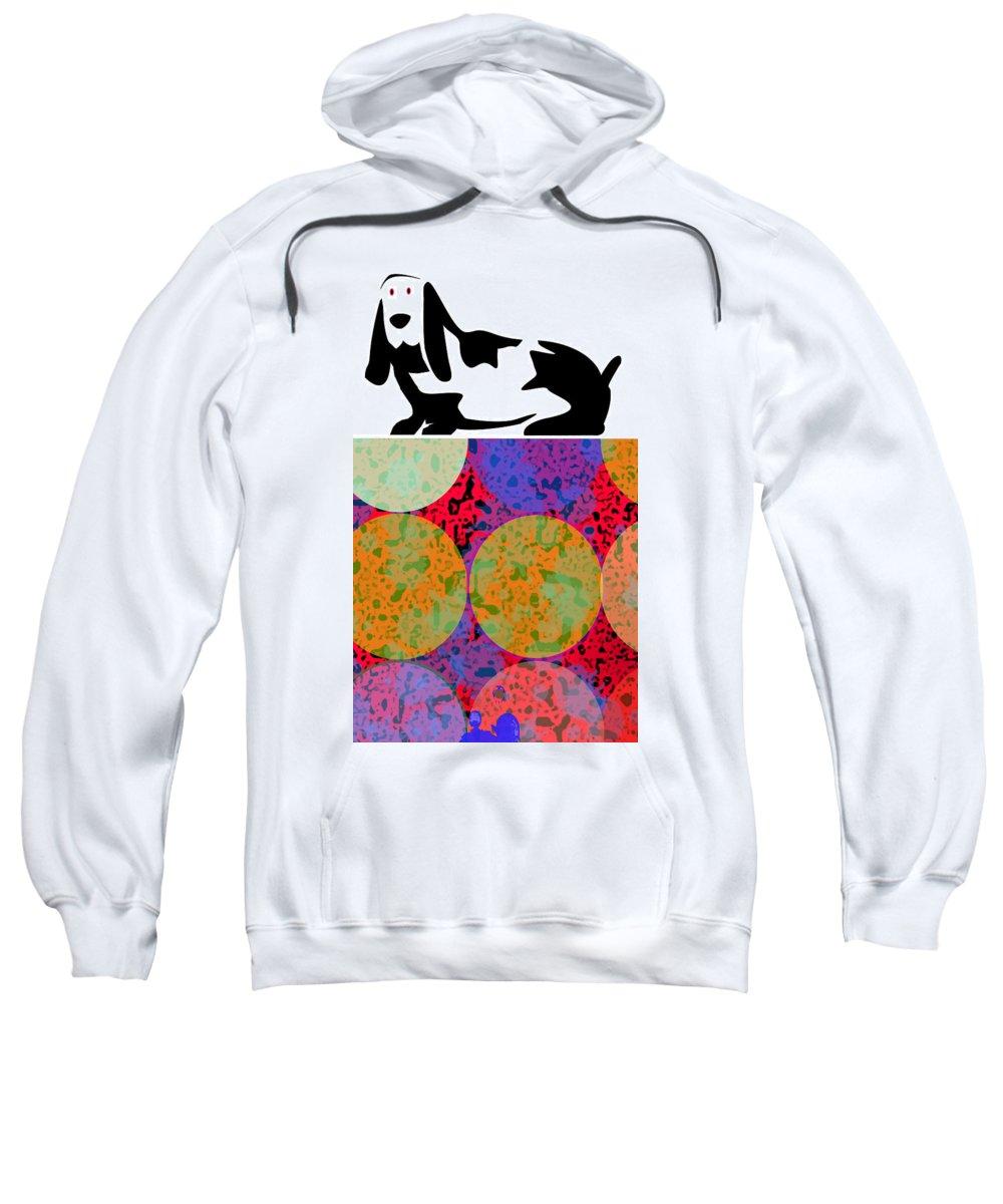 Dog Sweatshirt featuring the digital art Basset Pop by James Raynor