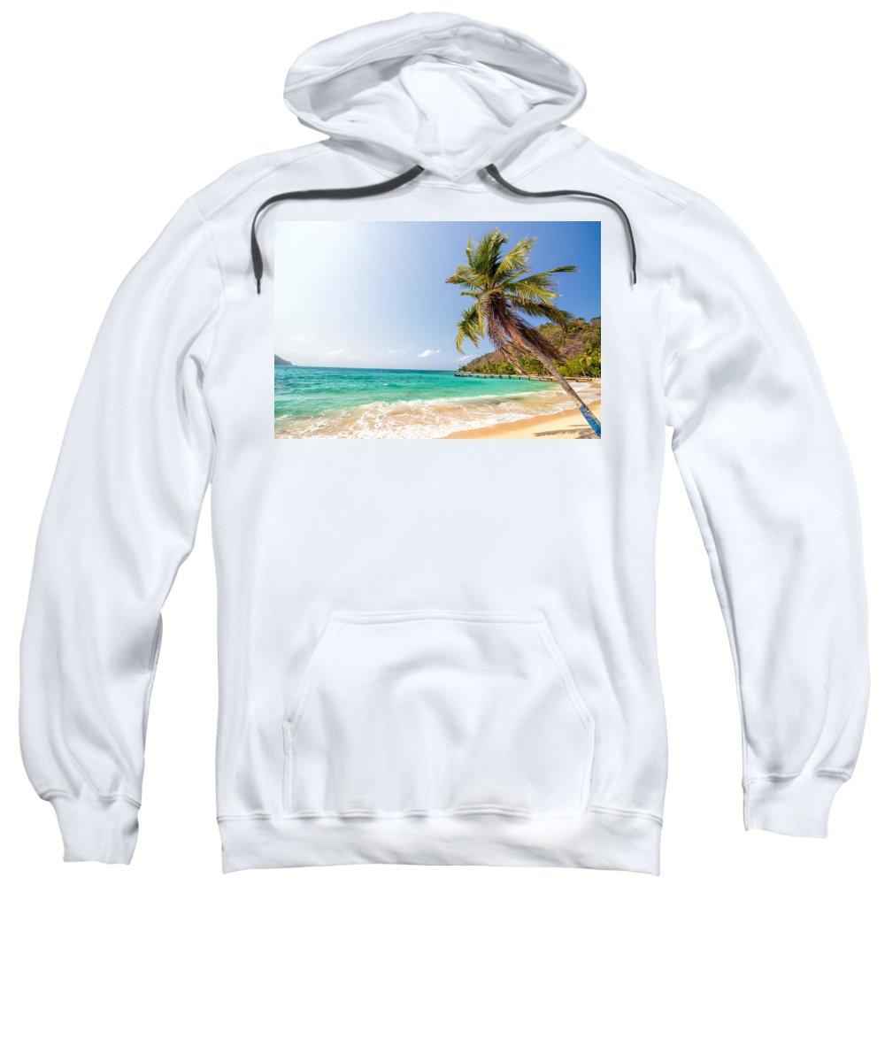 Capurgana Sweatshirt featuring the photograph Beach And Palm Tree by Jess Kraft