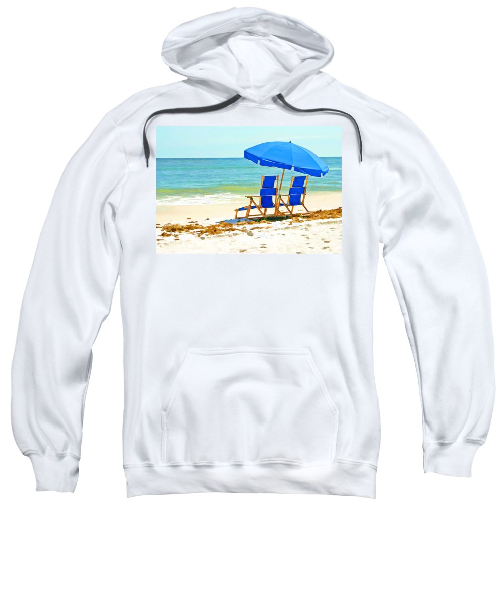 Ocean Sweatshirt featuring the painting Beach Chairs And Umbrella by Elaine Plesser