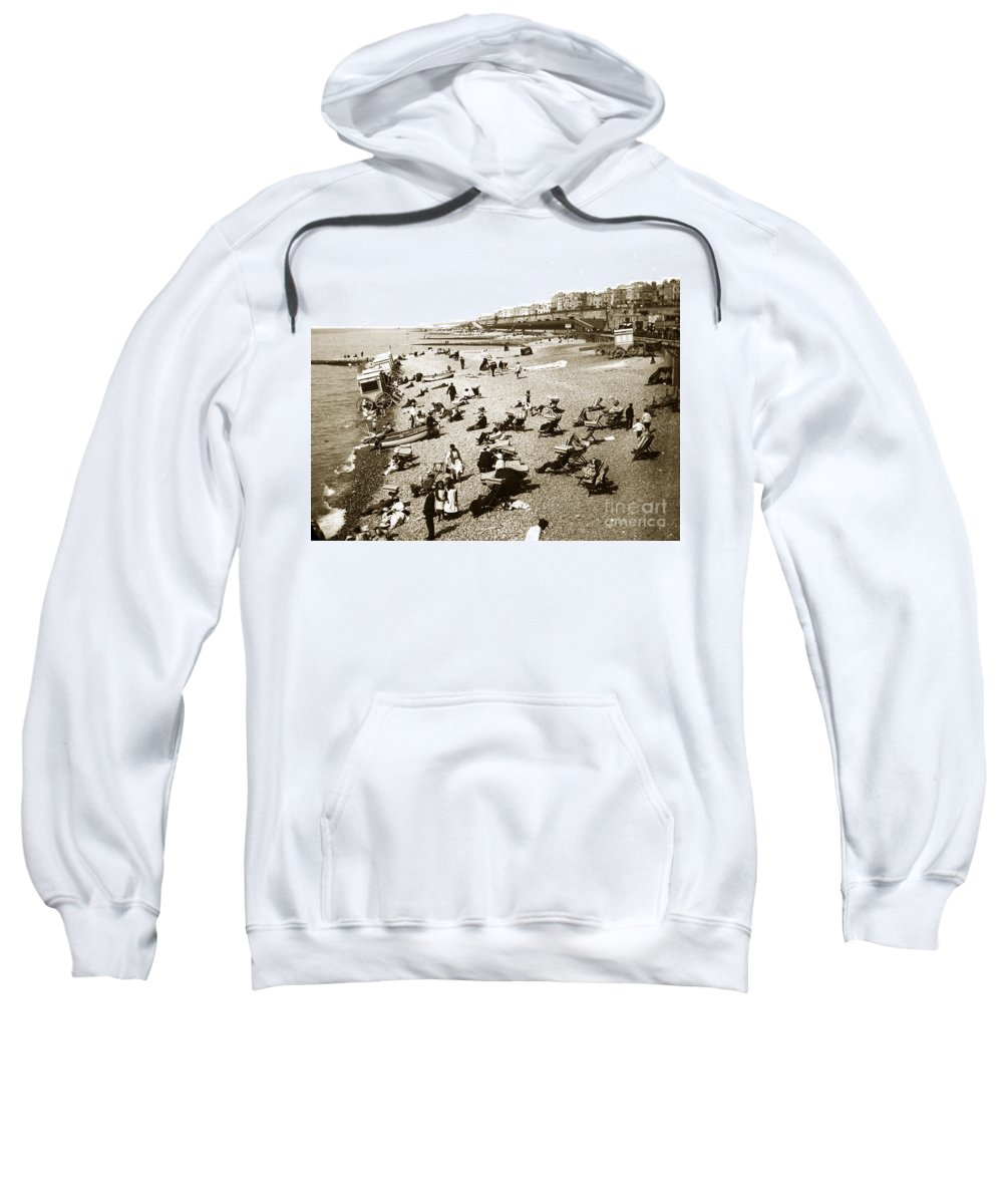 Beach Sweatshirt featuring the photograph Beach Sean France Circa 1900 by California Views Archives Mr Pat Hathaway Archives