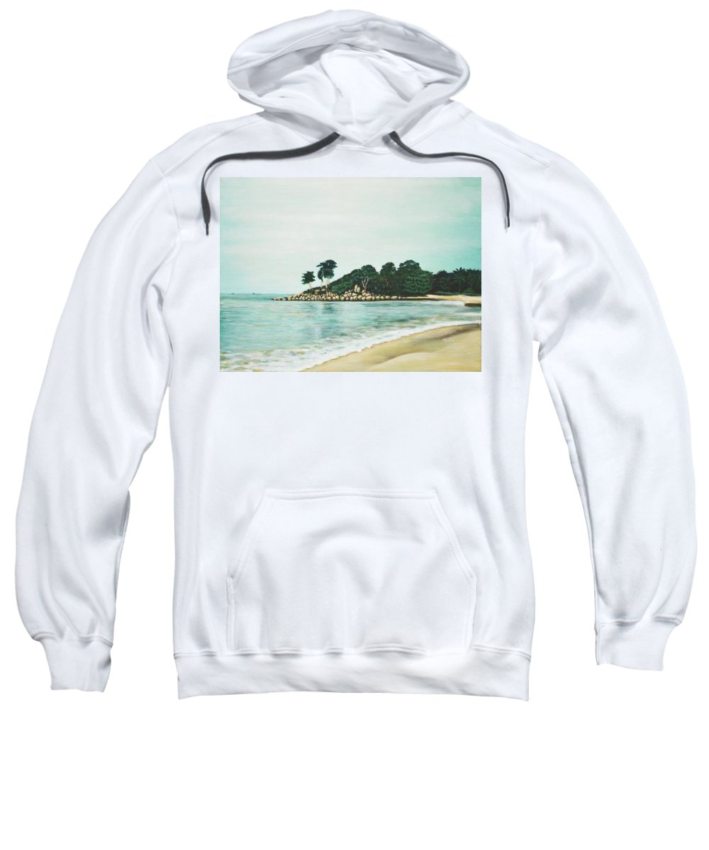 Beach Sweatshirt featuring the painting Beach by Usha Shantharam
