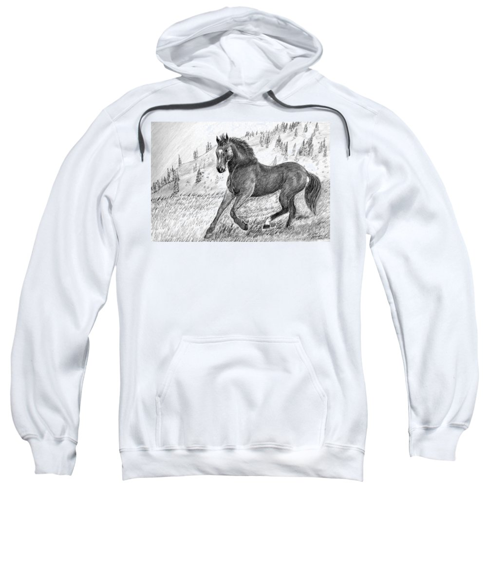 Horse Sweatshirt featuring the drawing Before The West Was Won by Shelley Blair
