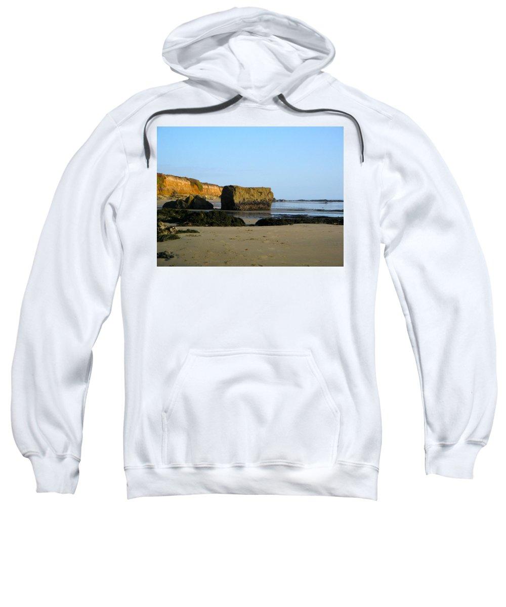 Cliffs Sweatshirt featuring the photograph Big Rock On San Simeon Beach by Denise Mazzocco