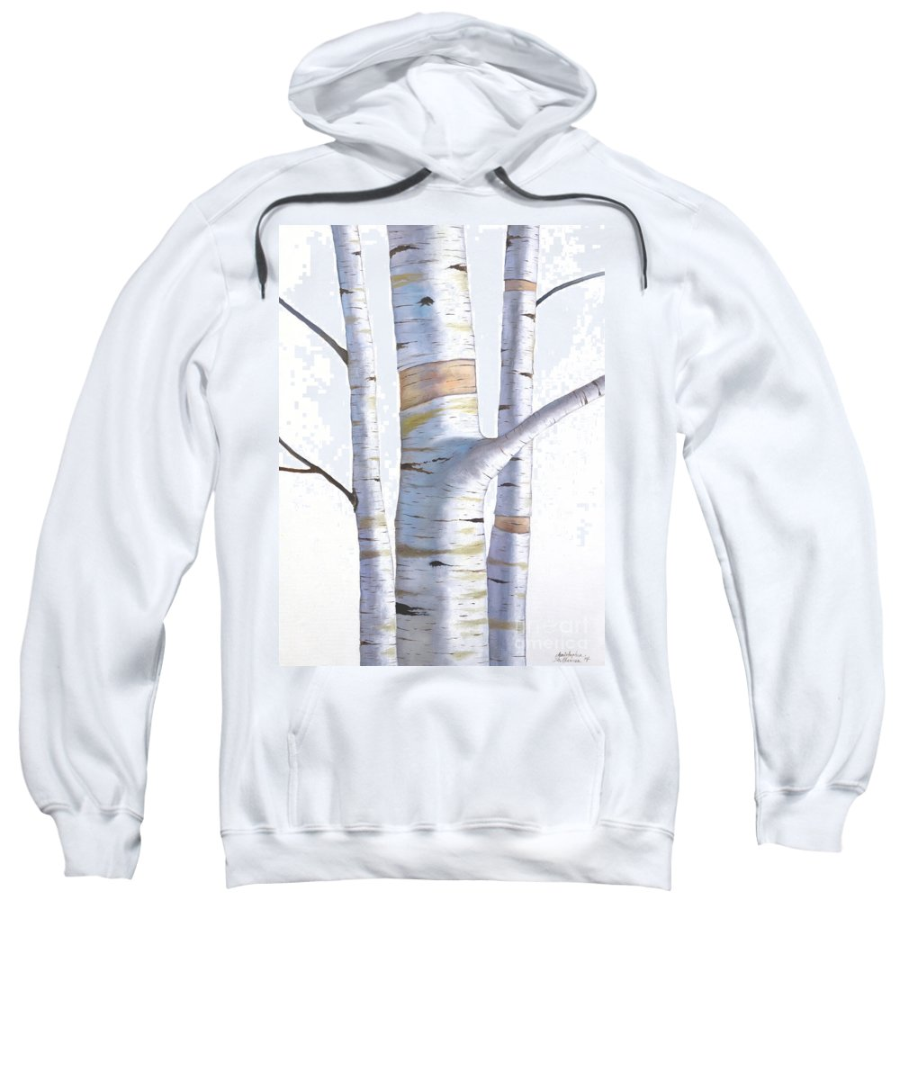 Birch Sweatshirt featuring the painting Birch Trees In Three by Christopher Shellhammer