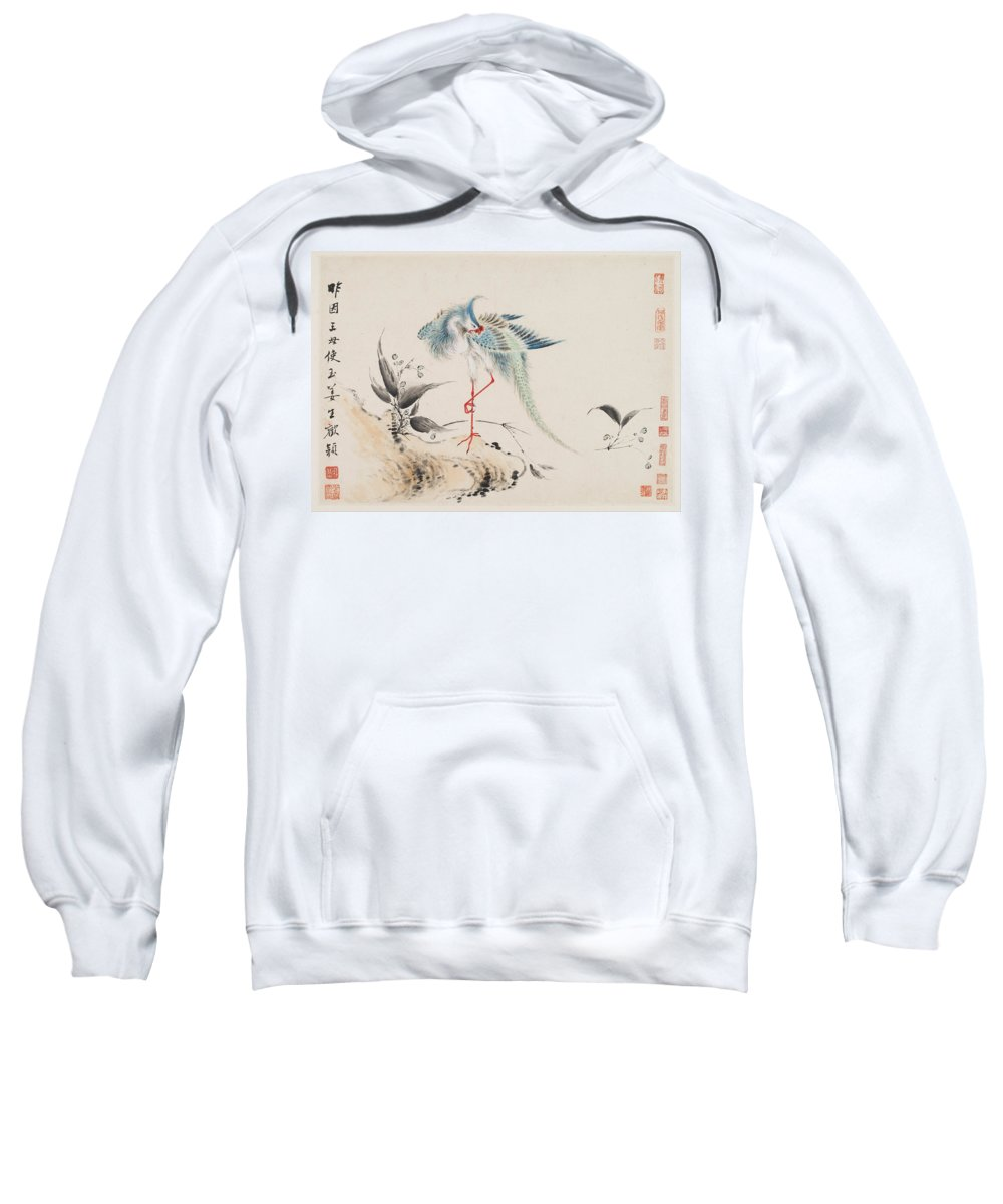 Hua Yan Sweatshirt featuring the painting Birds And Flowers by Hua Yan