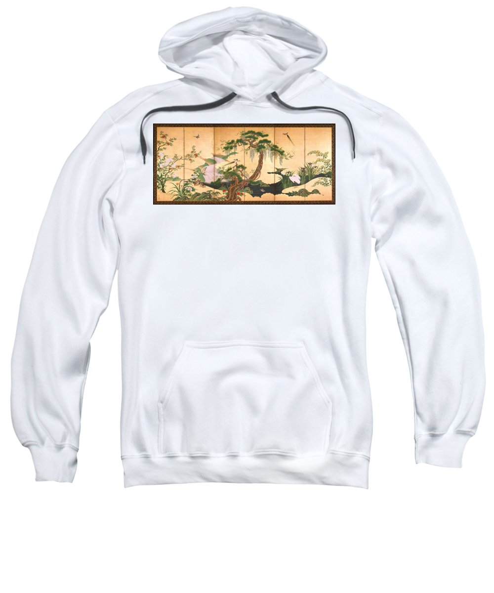 Kano Eino Sweatshirt featuring the painting Birds And Flowers Of Spring And Summer by Kano Eino