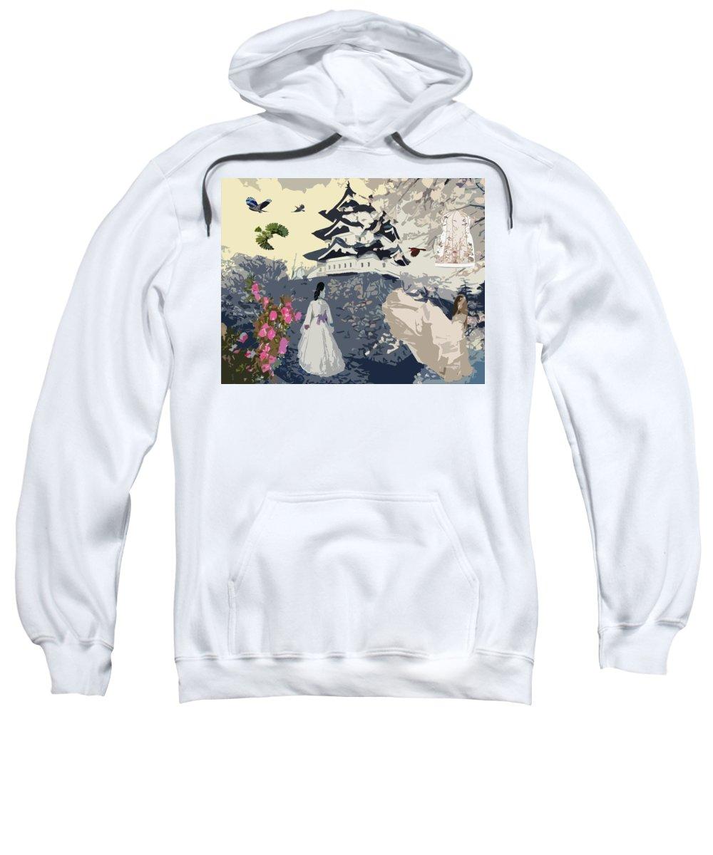 Bird's Eye View Sweatshirt featuring the digital art Bird's Eye View by Catherine Lott