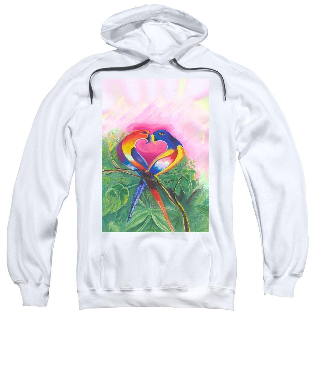 Love Sweatshirt featuring the painting Birds In Love 02 by Emmanuel Baliyanga