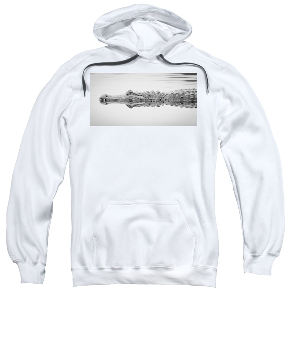 Sweatshirt featuring the photograph Black And White Alligator by Dennis Goodman