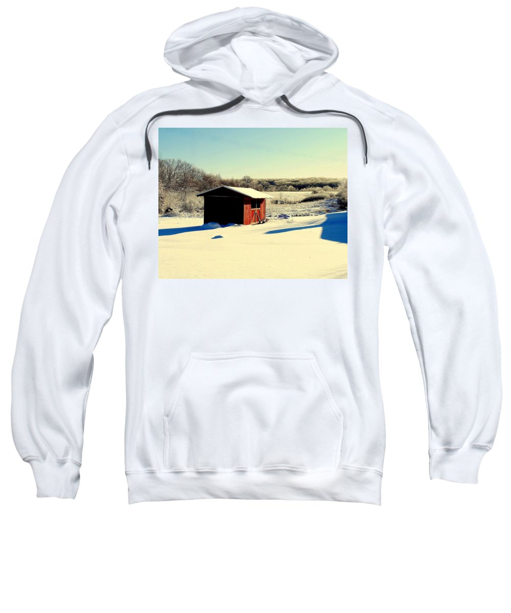 Winter Sweatshirt featuring the photograph Black And White And Color by Frozen in Time Fine Art Photography