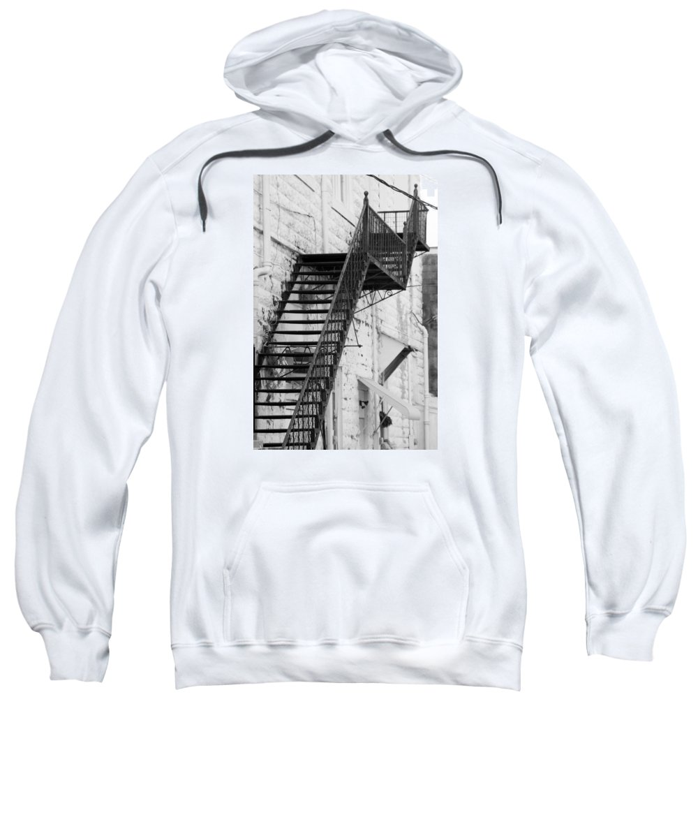 Vertical Sweatshirt featuring the photograph Black And White Fire Escape Usa Near Infrared by Sally Rockefeller