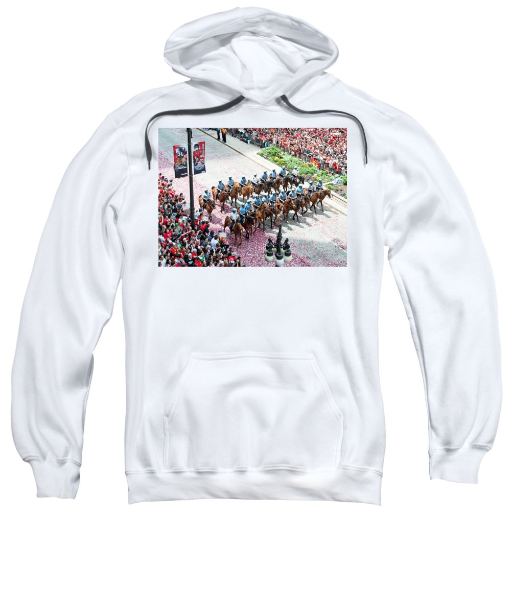 Chicago Sweatshirt featuring the photograph Blackhawks Parade Mtd Police by Curtiss Messer