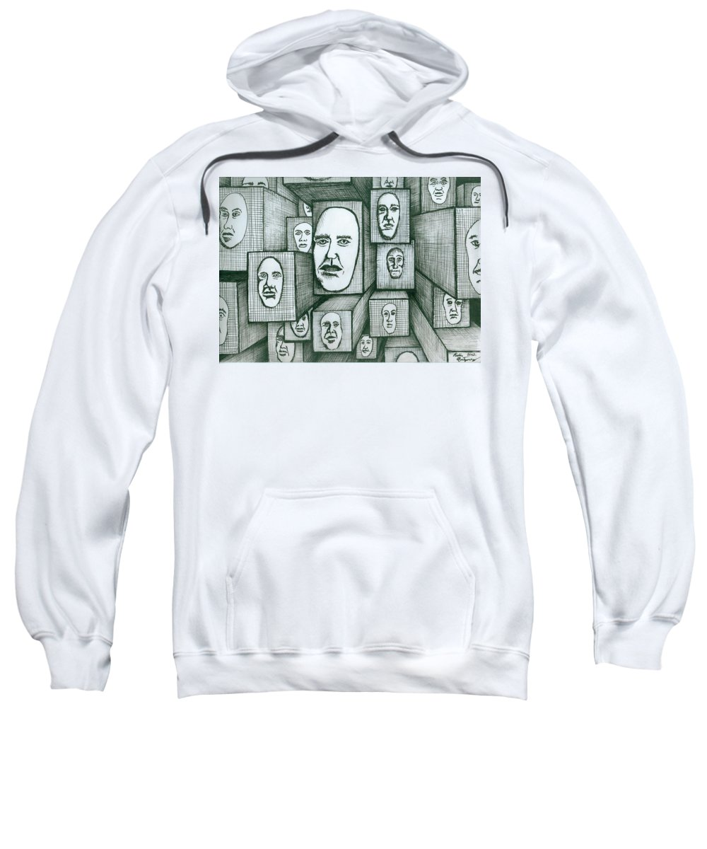 Heads Sweatshirt featuring the painting Block Head by Richie Montgomery