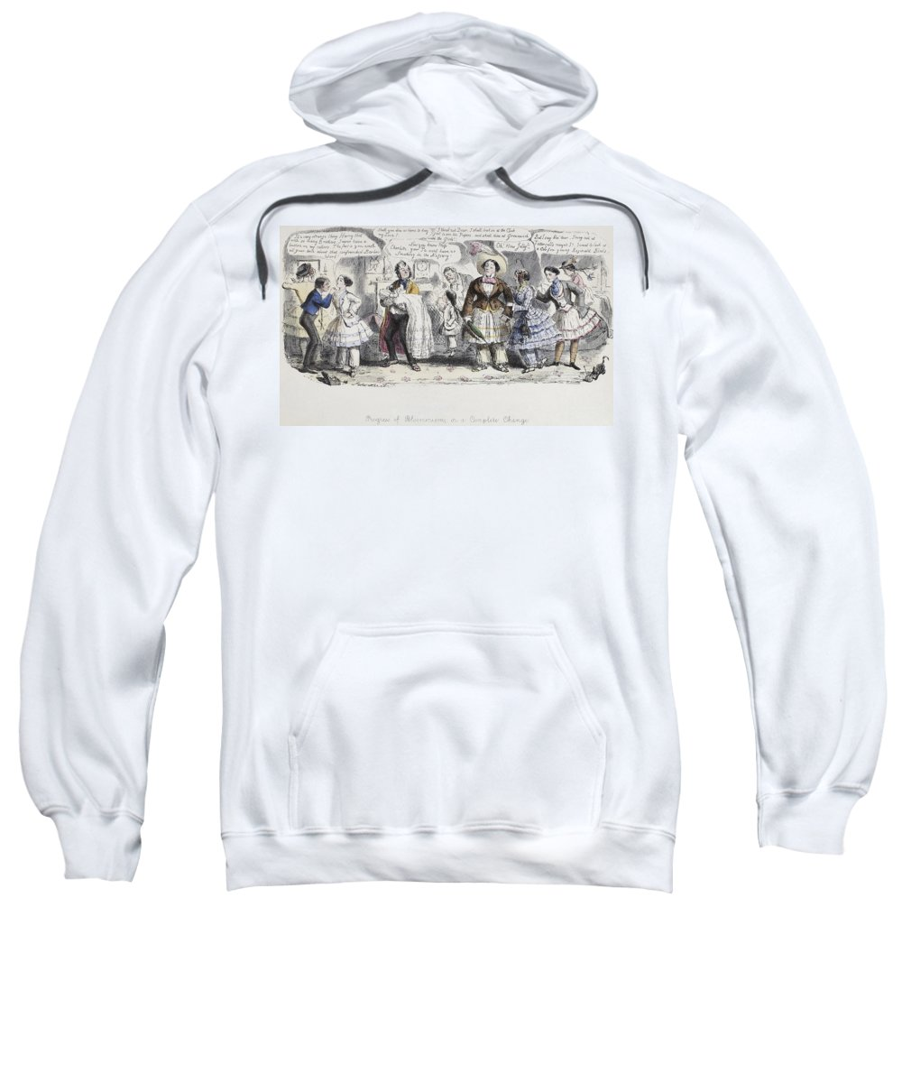 1851 Sweatshirt featuring the painting Bloomer Cartoon, C1851 by Granger
