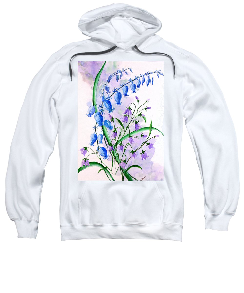 Floral Sweatshirt featuring the painting Blue Bells 1 by Karin Dawn Kelshall- Best