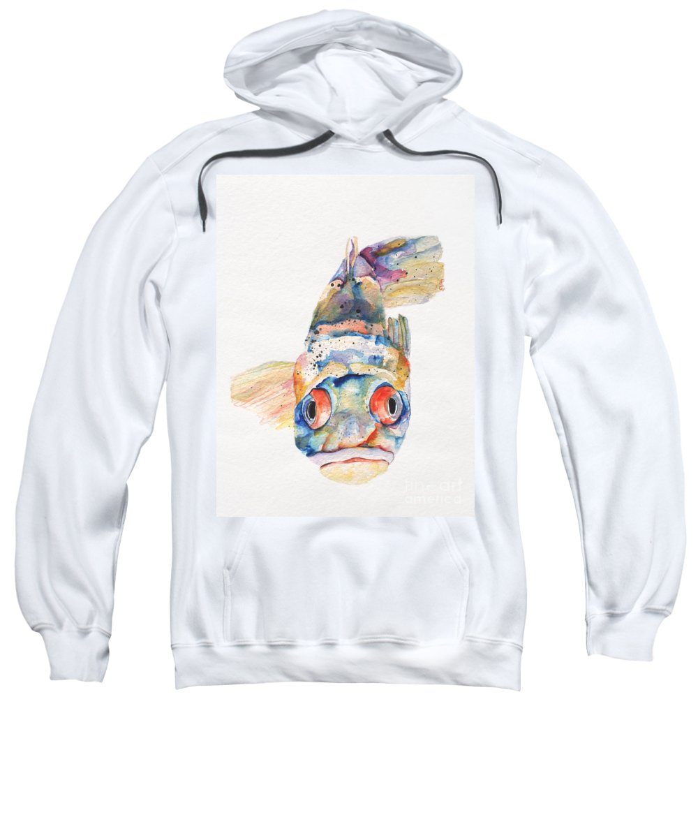 Pat Saunders-white Sweatshirt featuring the painting Blue Fish  by Pat Saunders-White