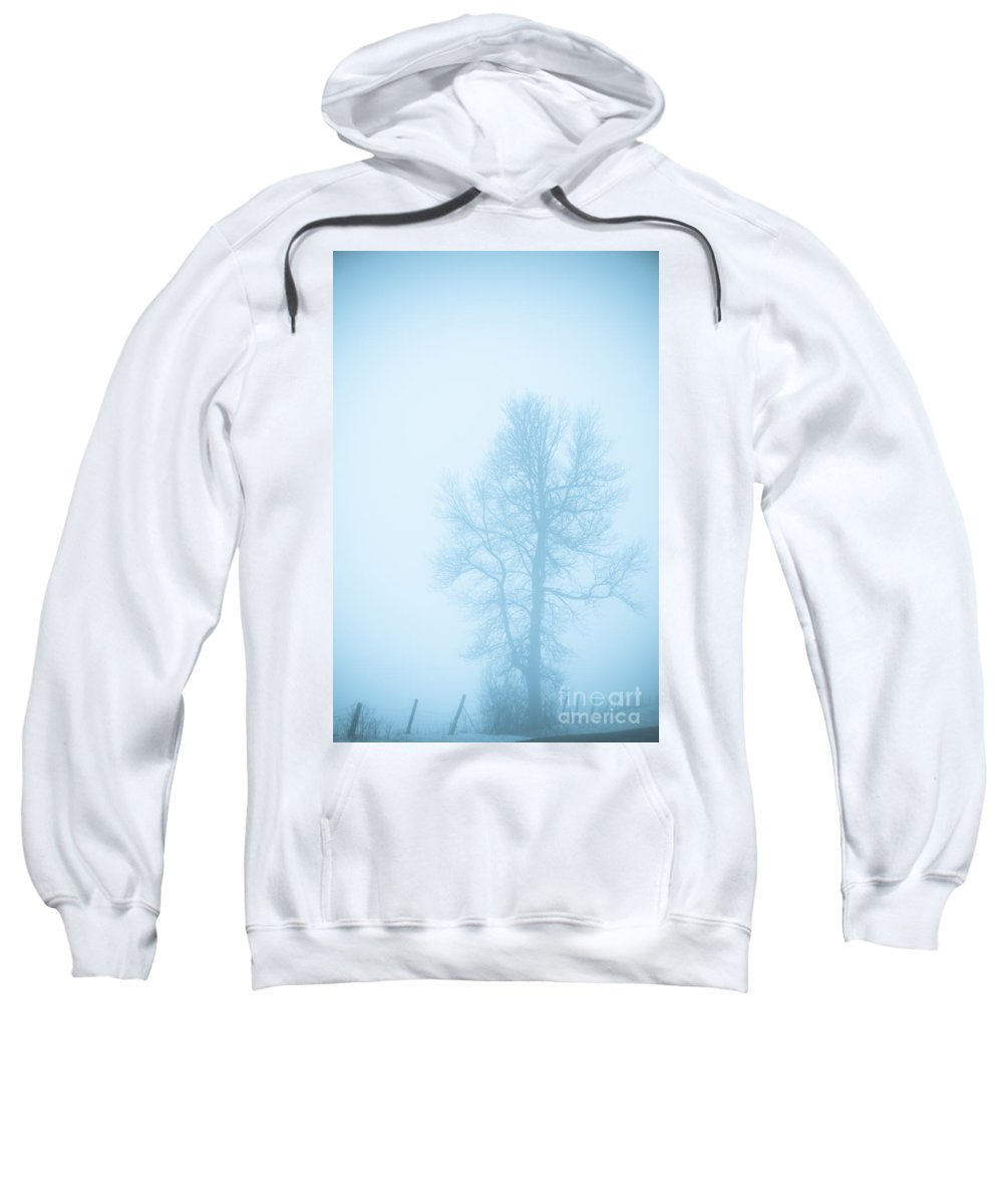 Landscapes Sweatshirt featuring the photograph Blue Fog by Cheryl Baxter