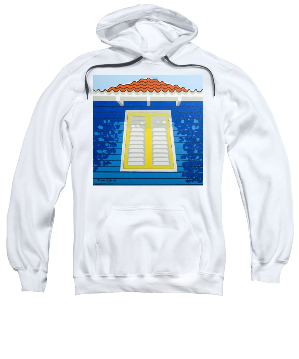 Caribbean House Architecture Sun Painting Blue Curacao Aruba Antilles Sweatshirt featuring the painting Blue House by Trudie Canwood