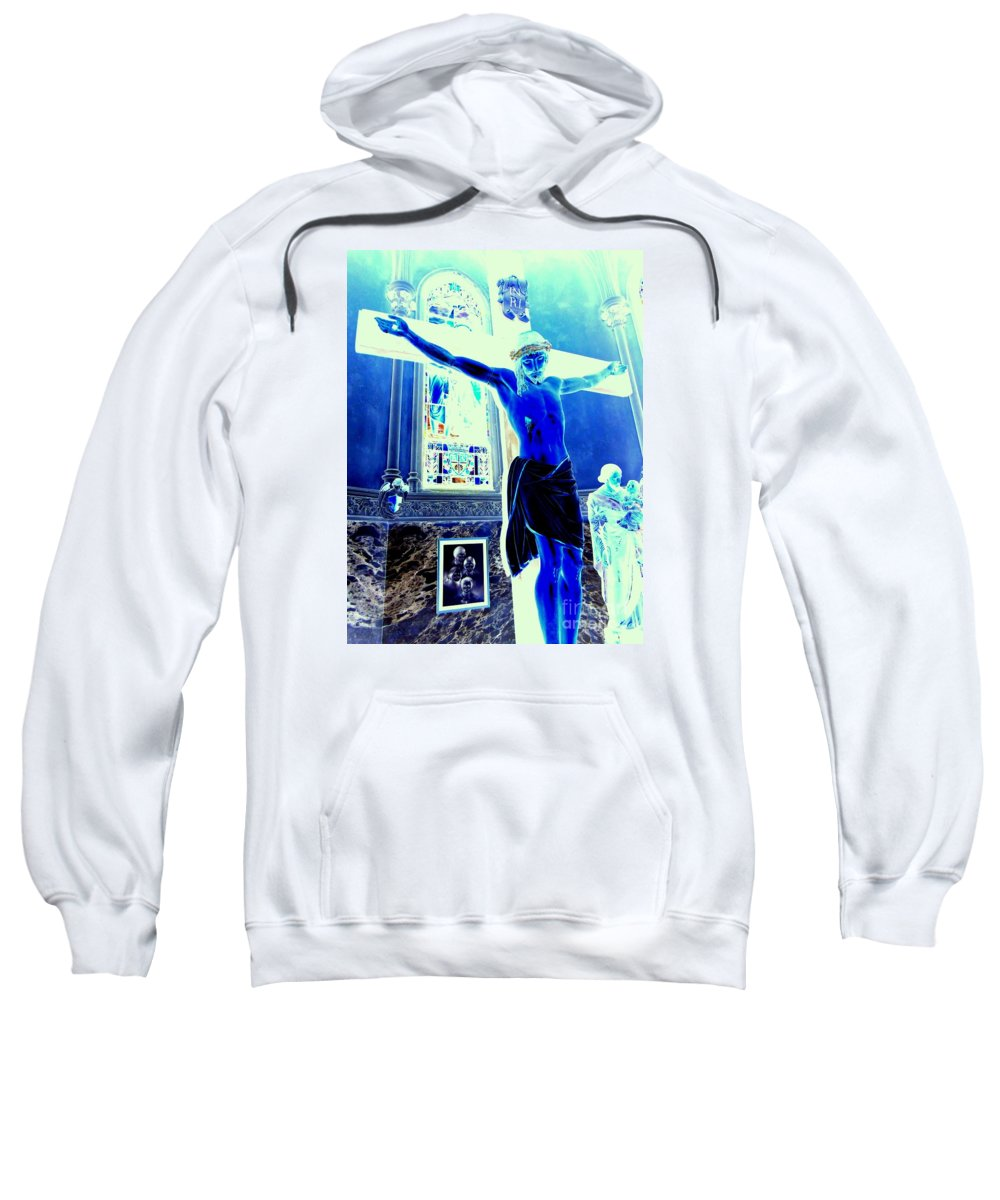 Jesus Sweatshirt featuring the photograph Blue Jesus by Ed Weidman