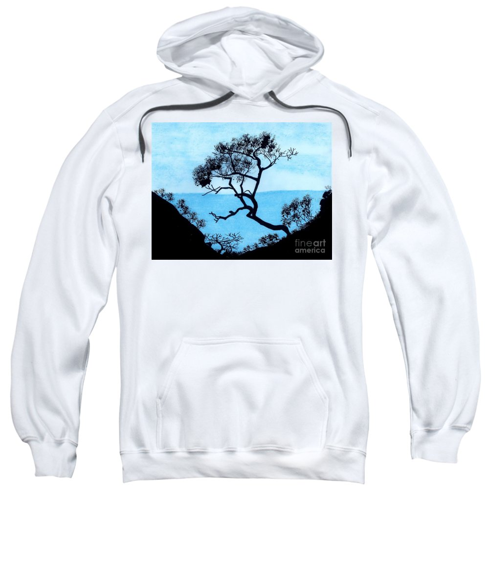 Mountains Sweatshirt featuring the drawing Blue Mountain by D Hackett