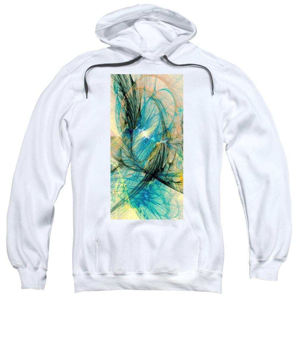 Malakhova Sweatshirt featuring the digital art Blue Phoenix by Anastasiya Malakhova