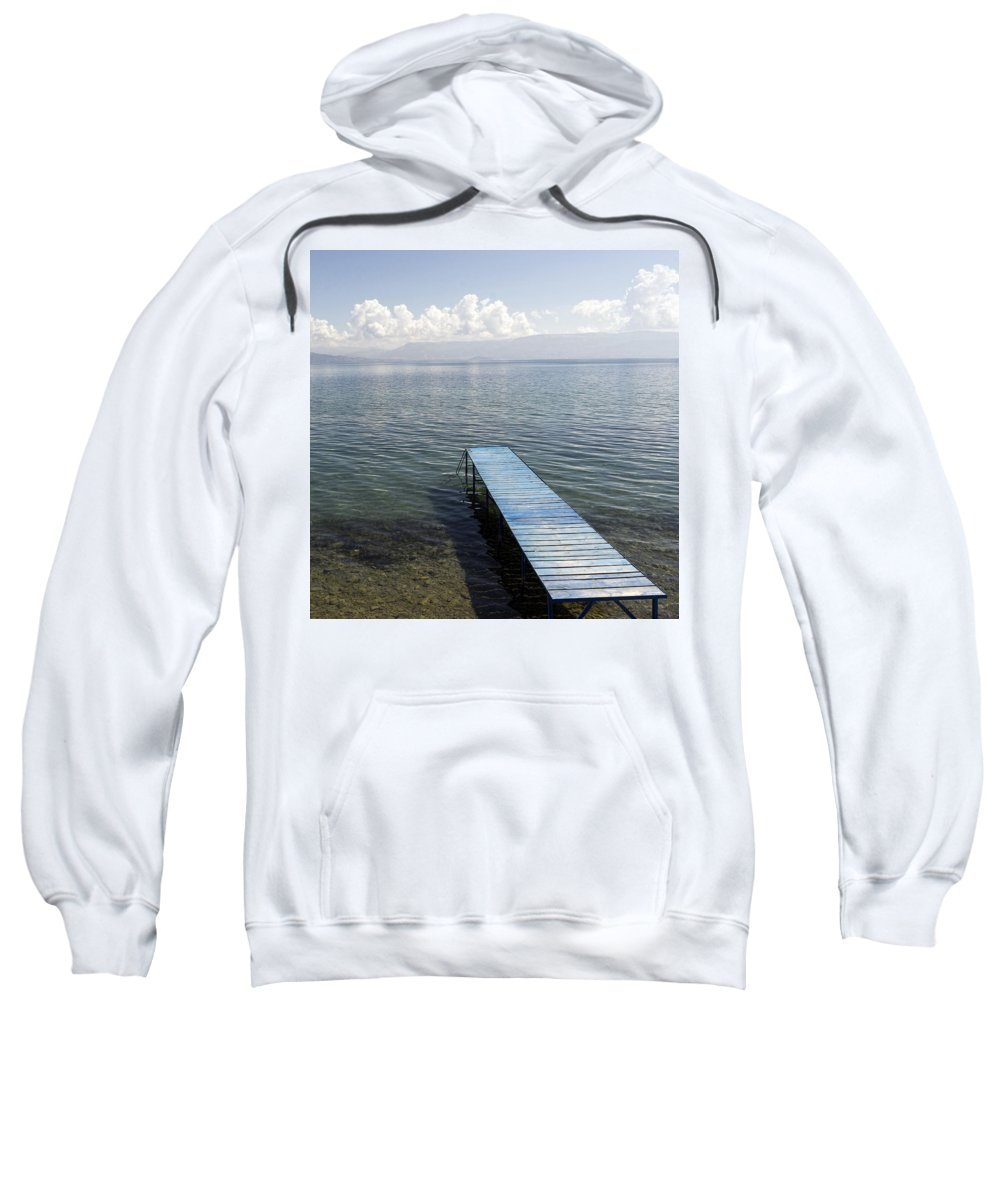 Lake Ohrid Sweatshirt featuring the photograph Blue Pier At Lake Ohrid by For Ninety One Days