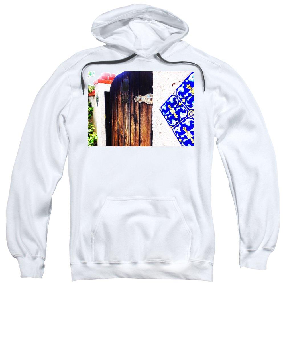 Door Sweatshirt featuring the photograph Blue Tile Brown Door 1 by Korynn Neil