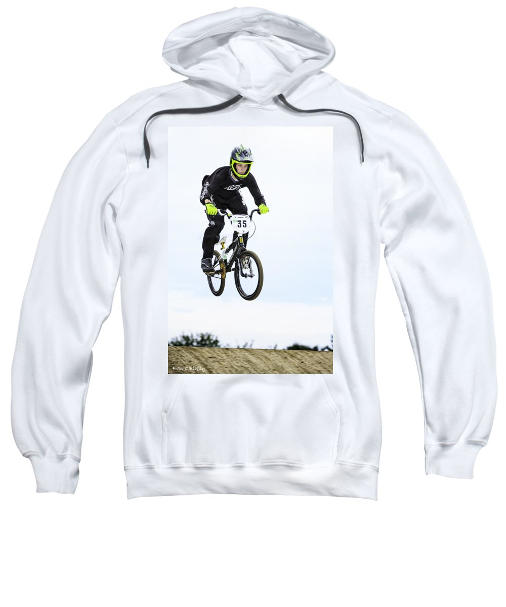 Bmx Sweatshirt featuring the photograph Bmx Racer Goes Airborne by Fran Gallogly