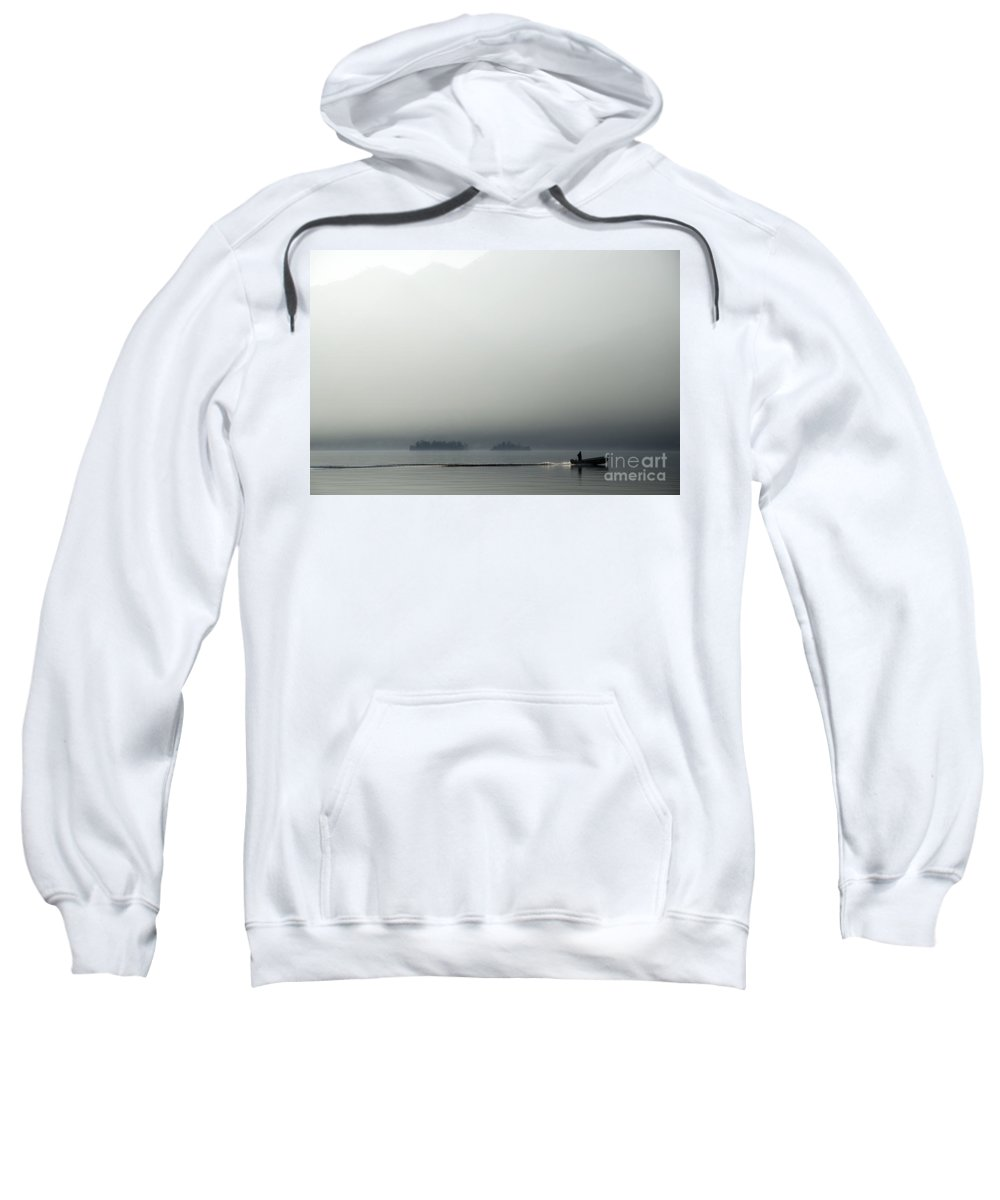 Boat Sweatshirt featuring the photograph Boat On A Foggy Lake by Mats Silvan