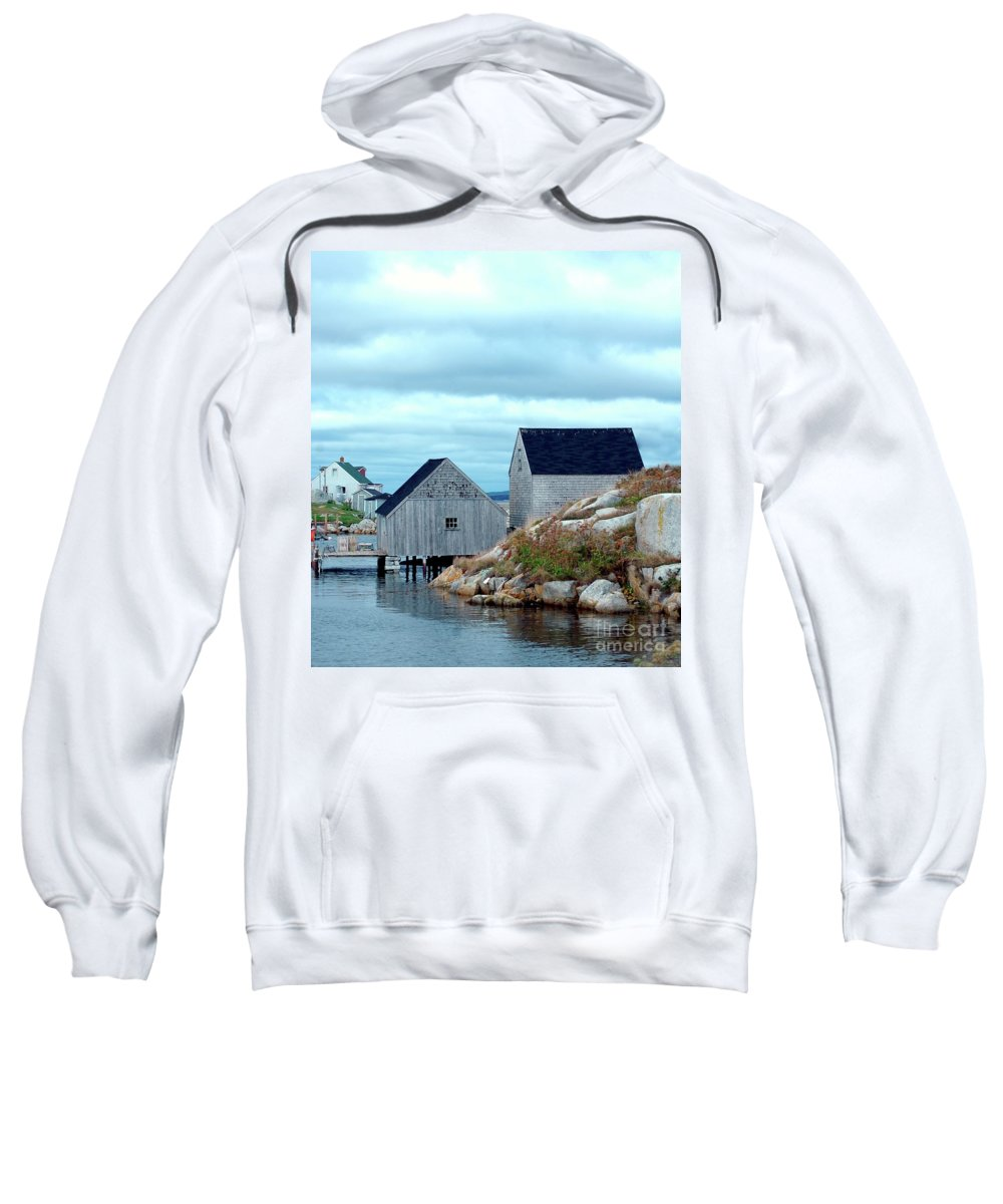 Blue Sweatshirt featuring the photograph Boathouses by Kathleen Struckle