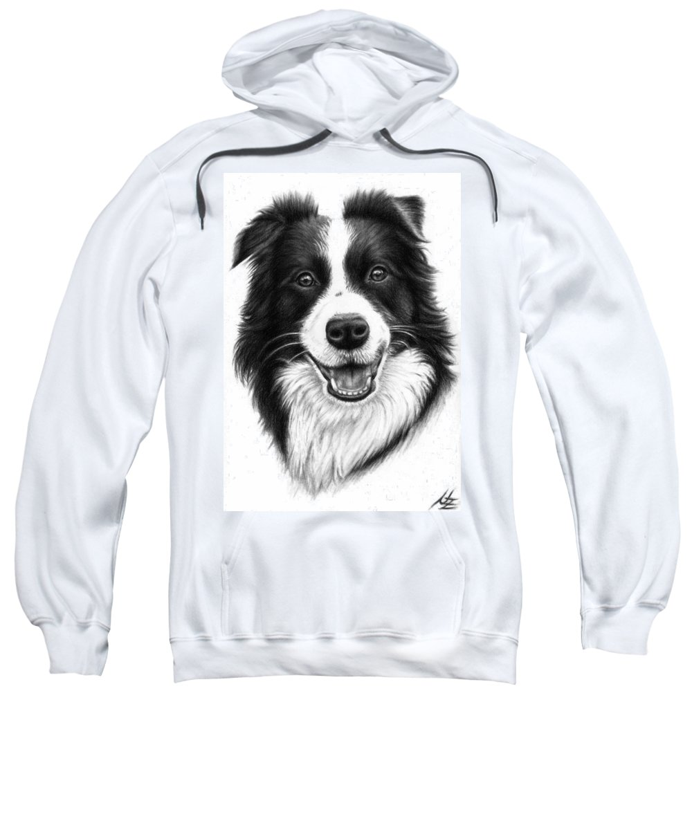 Dog Sweatshirt featuring the drawing Border Collie by Nicole Zeug
