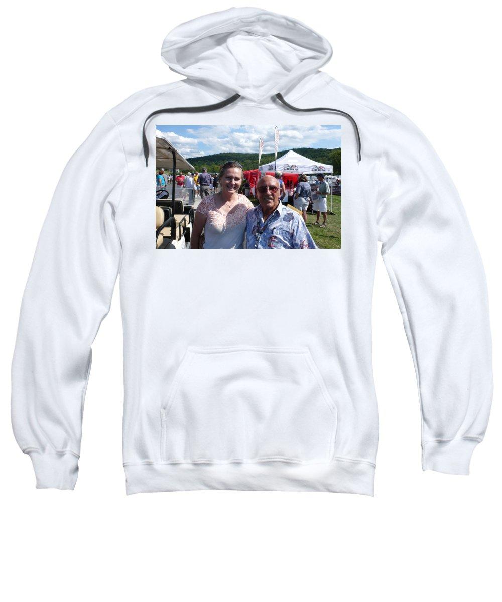 Sir Stirling Moss Sweatshirt featuring the photograph Borsos Anna Ruzsan With Sir Stirling Moss 2012 by Anna Ruzsan
