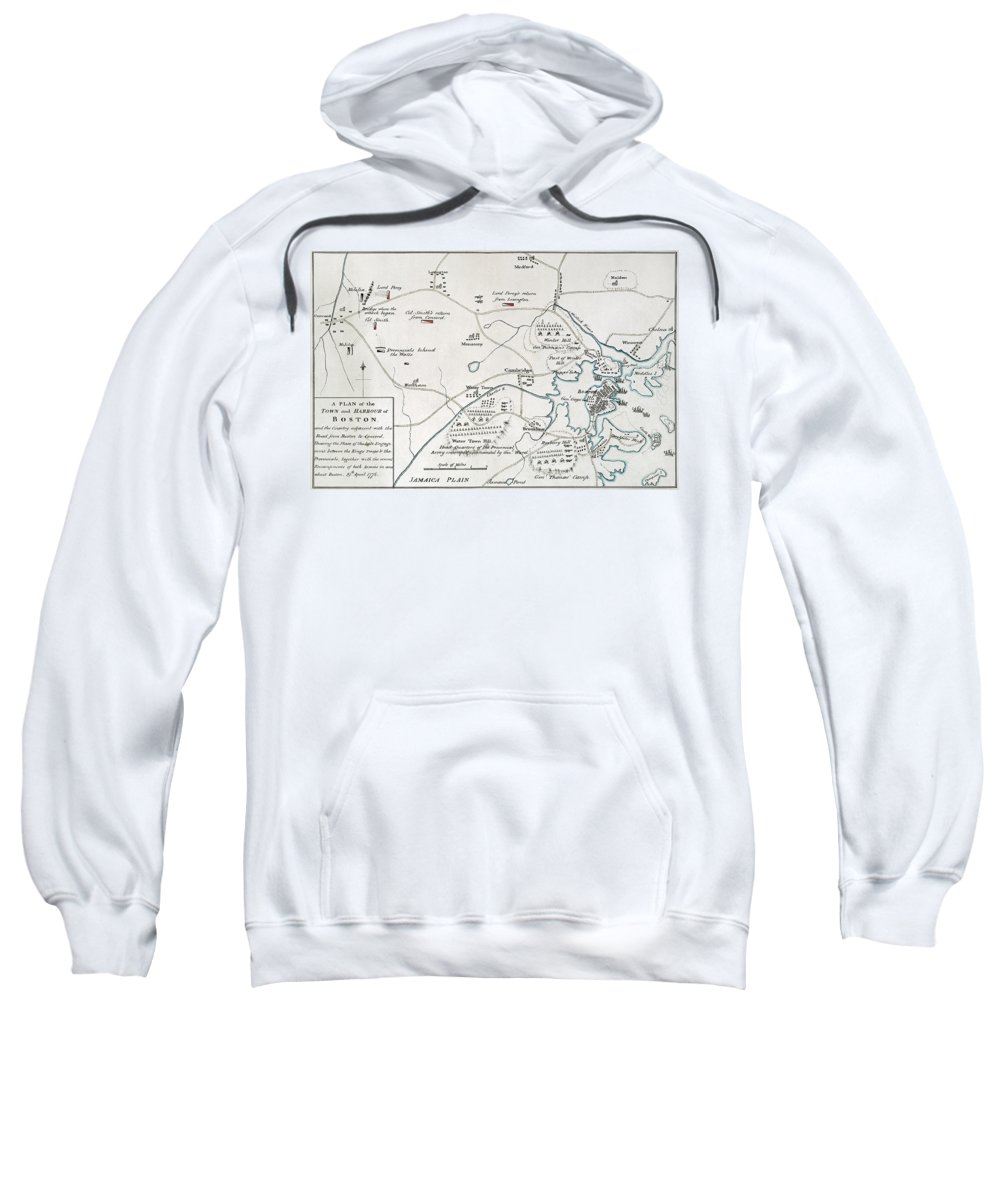1775 Sweatshirt featuring the photograph Boston-concord Map, 1775 by Granger