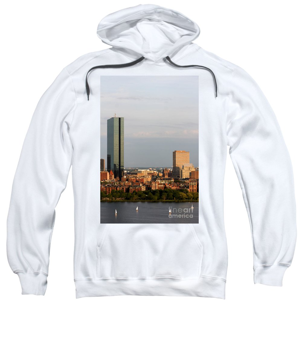 Afternoon Sweatshirt featuring the photograph Boston John Hancock Tower Skyline by Jannis Werner
