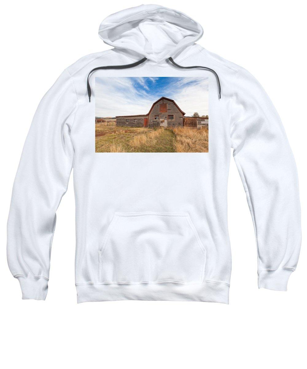Barn Sweatshirt featuring the photograph Boulder Barn by Fran Riley