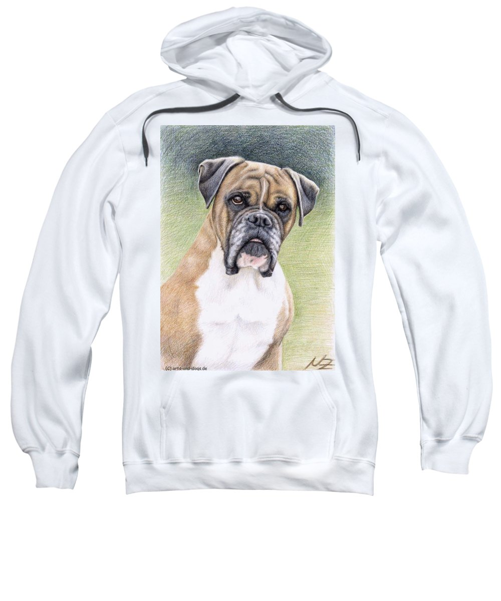Dog Sweatshirt featuring the drawing Boxer Portrait by Nicole Zeug