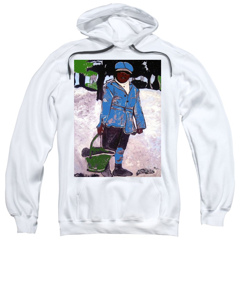 Boy Sweatshirt featuring the painting Boy Carrying Coal Circa 1901 by Saundra Myles