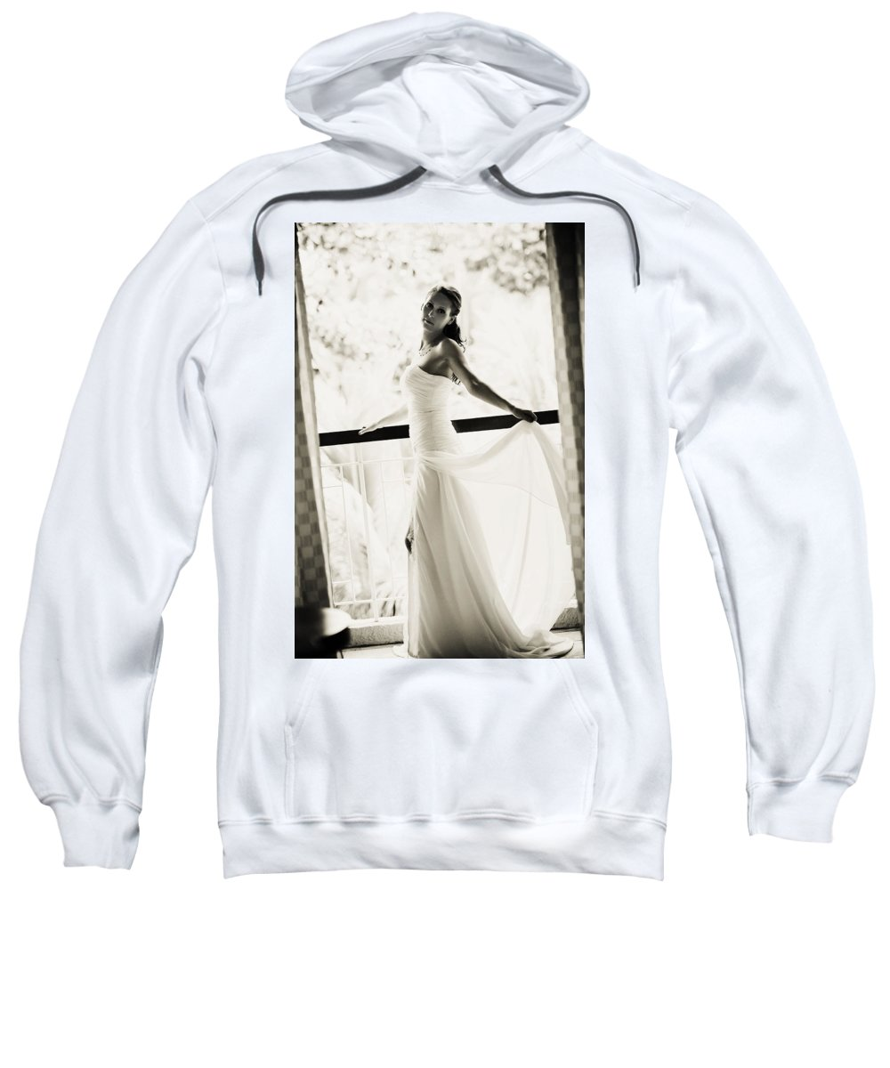 Marriage Sweatshirt featuring the photograph Bride At The Balcony. Black And White by Jenny Rainbow