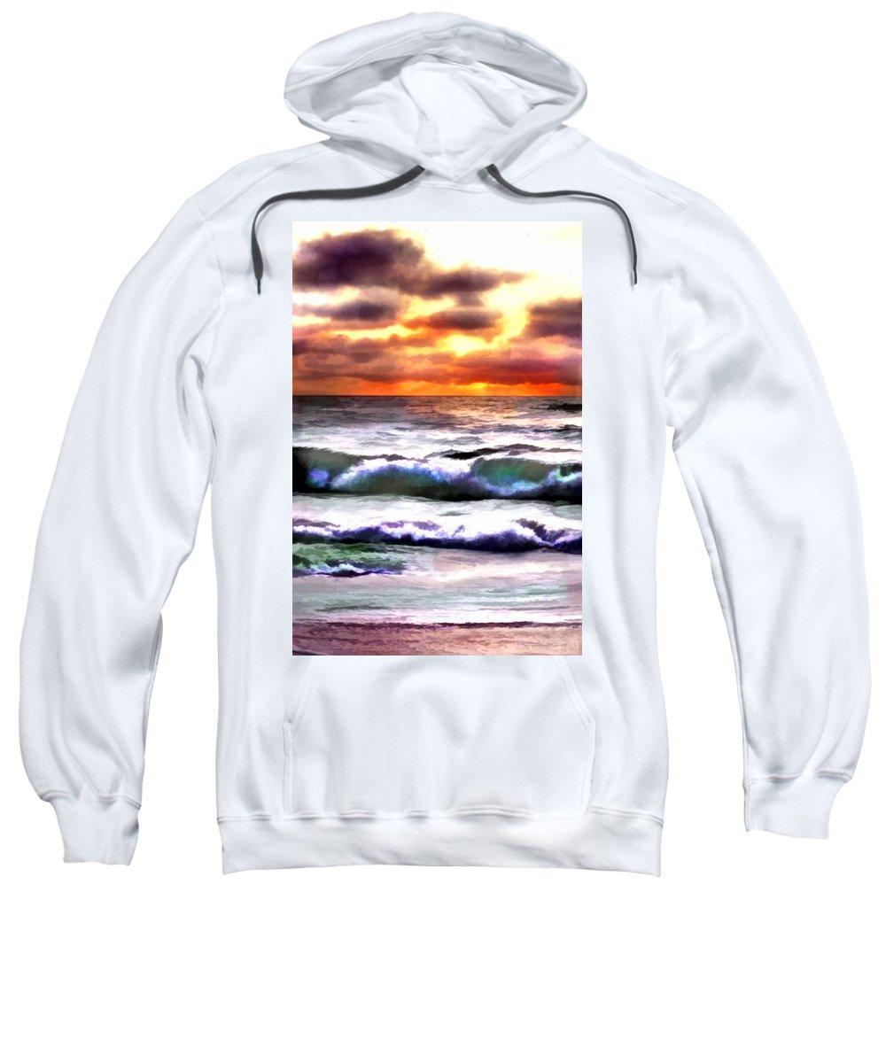 Ocean Sweatshirt featuring the painting Brilliant Nags Head Sunrise by Elaine Plesser