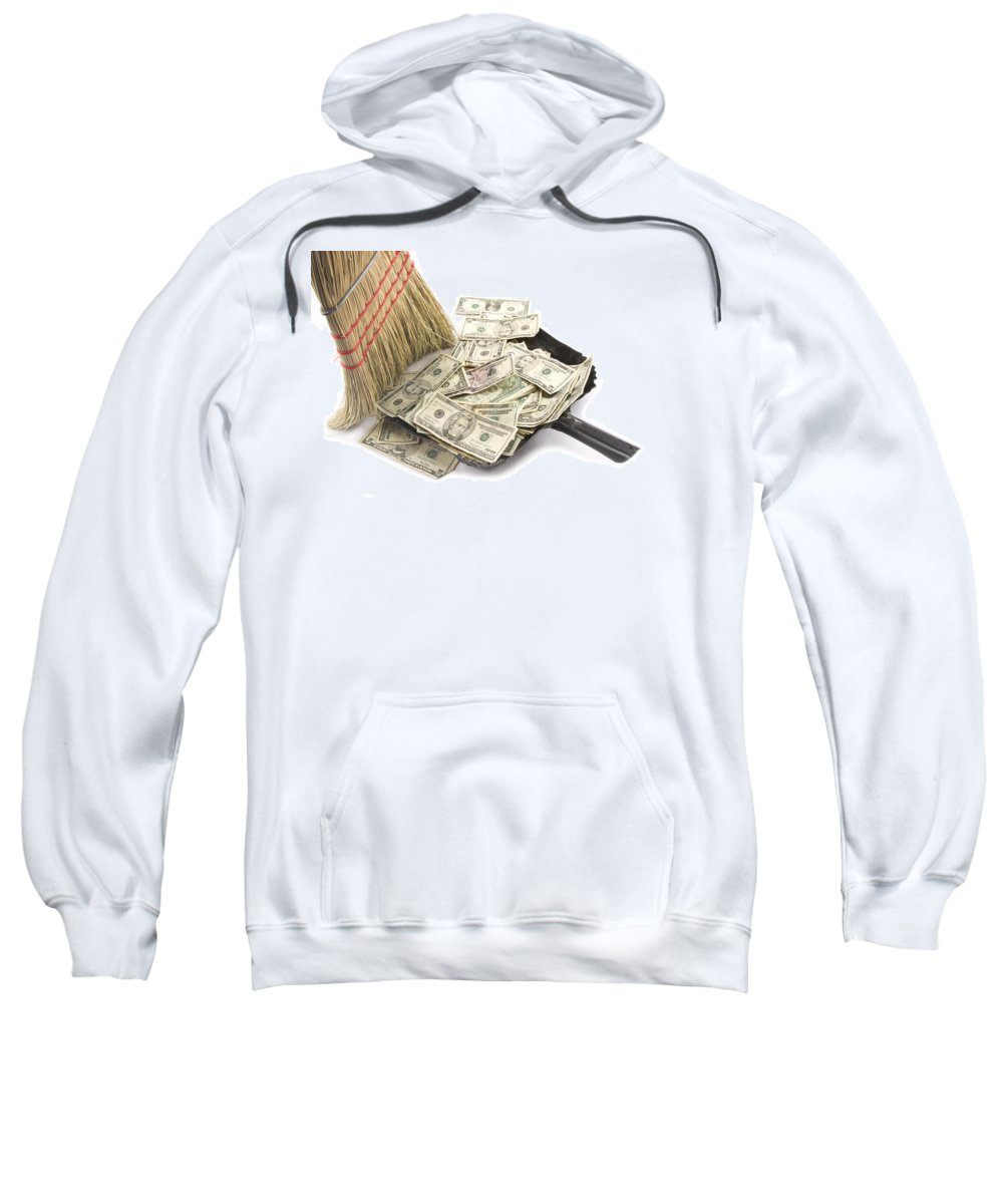 Business Sweatshirt featuring the photograph Broom Sweeping Up American Currency by Keith Webber Jr