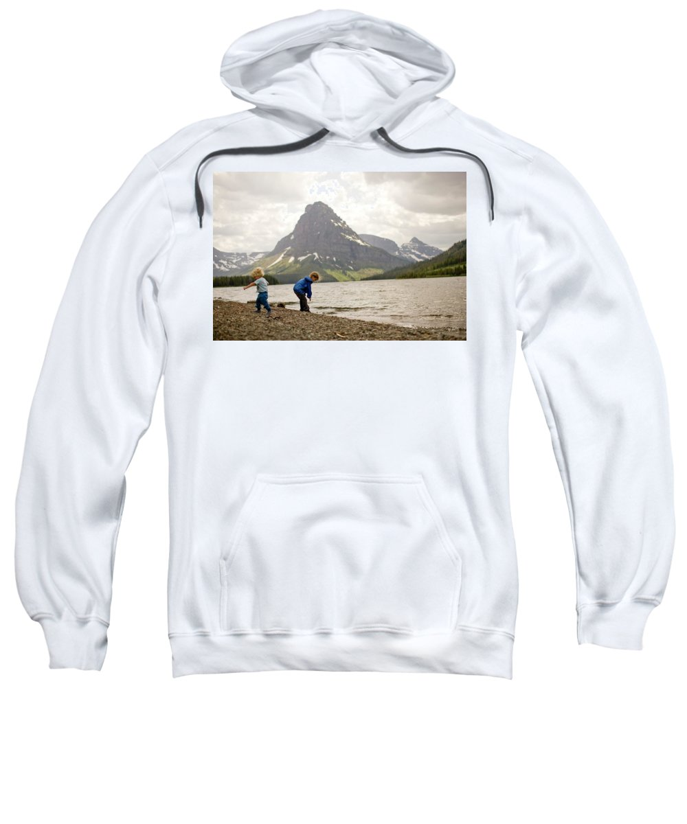2-3 Years Sweatshirt featuring the photograph Brother And Sister Playing Near A Lake by Woods Wheatcroft