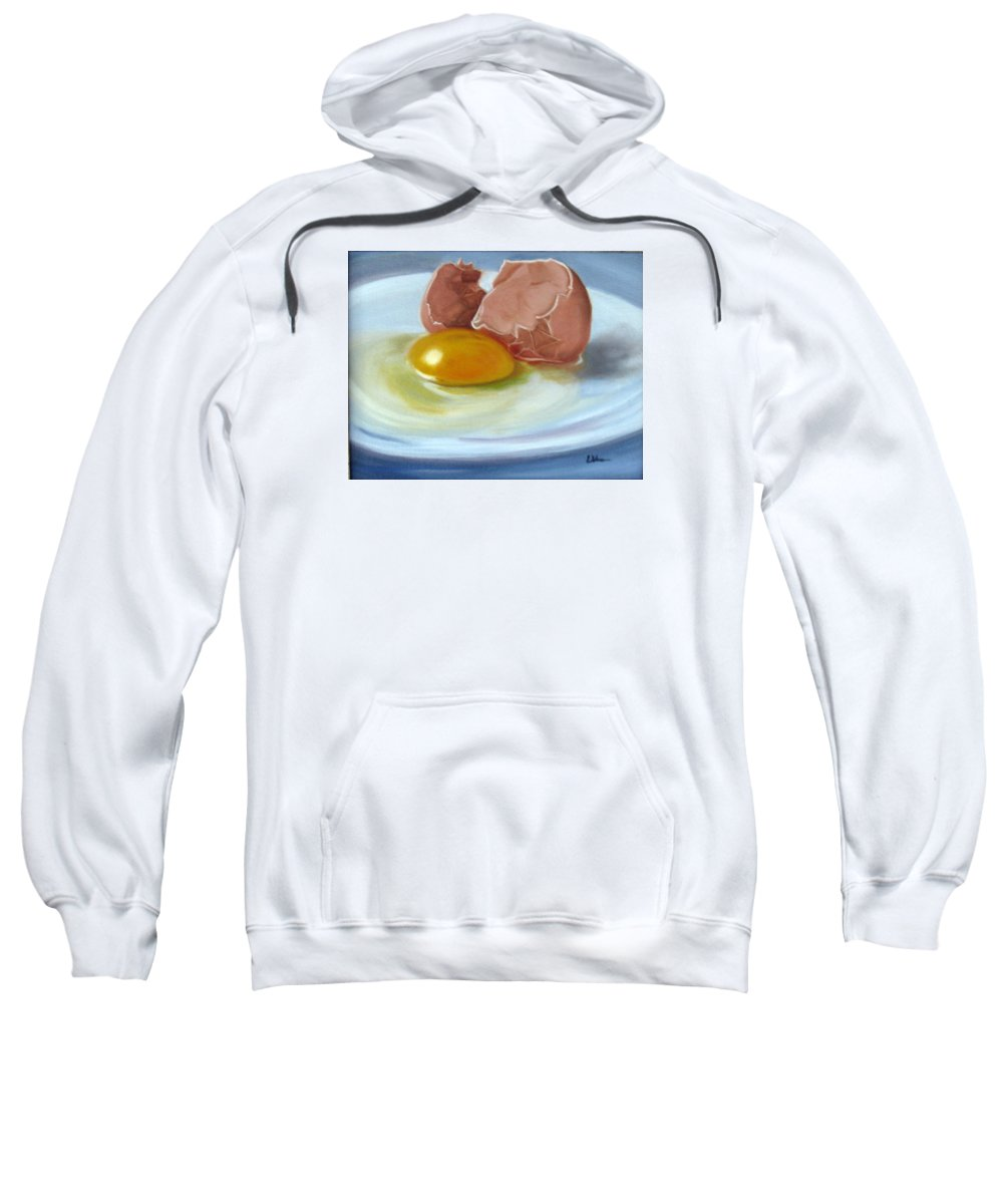 Egg Sweatshirt featuring the painting Brown Egg Study by LaVonne Hand