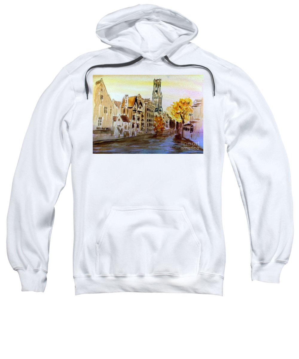 Architecture Sweatshirt featuring the painting Brugges Belgium by Donna Walsh