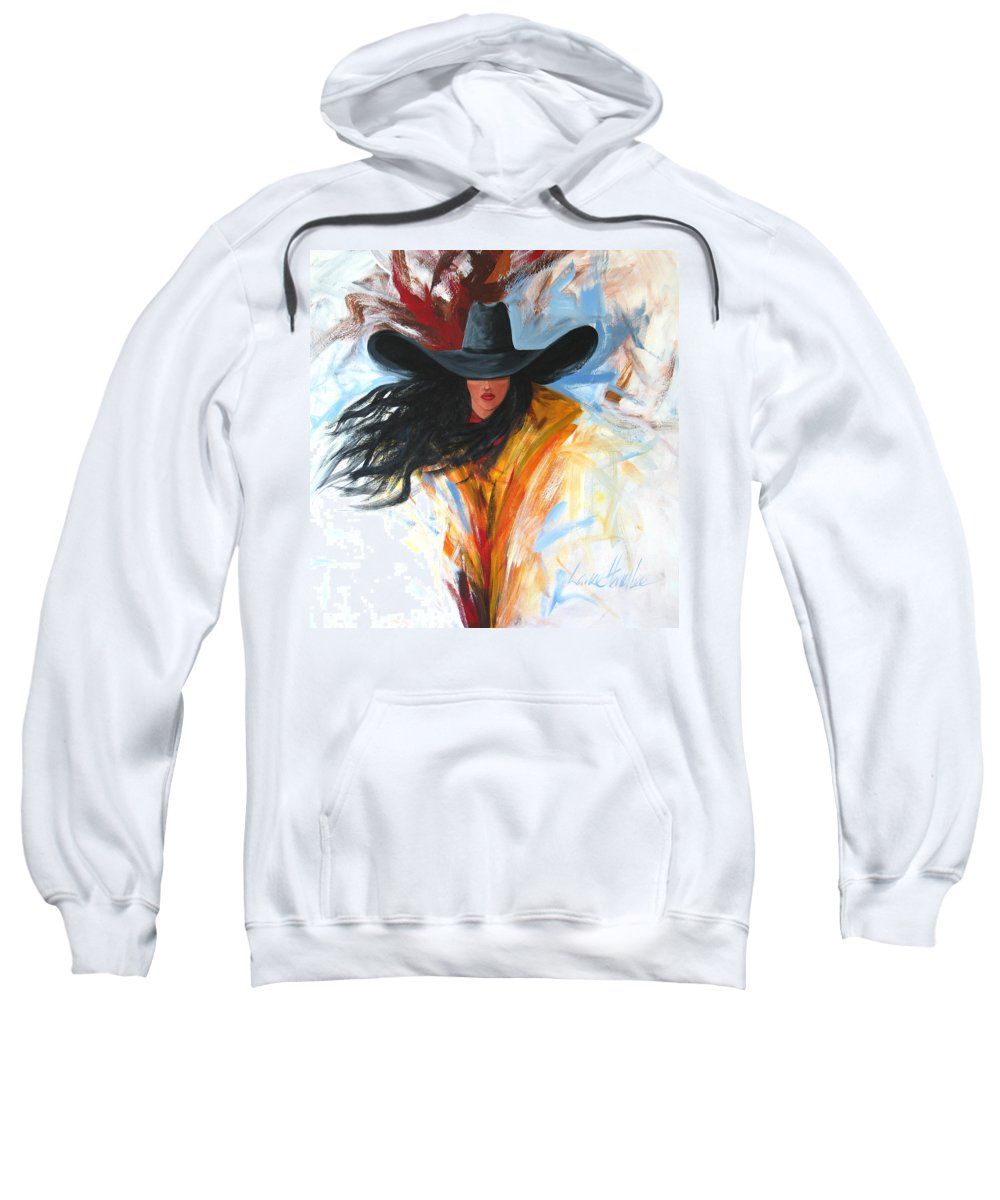 Cowgirl Sweatshirt featuring the painting Brushstroke Cowgirl by Lance Headlee